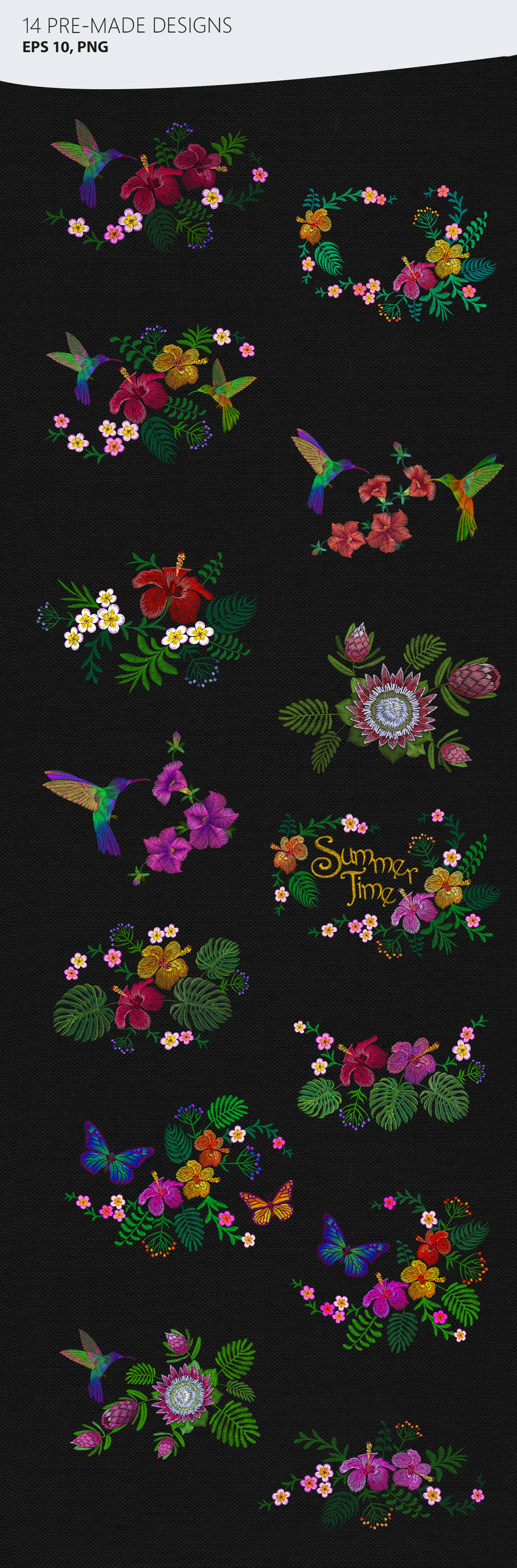 Exotic Holiday Vector Embroidery Print Set example image 6