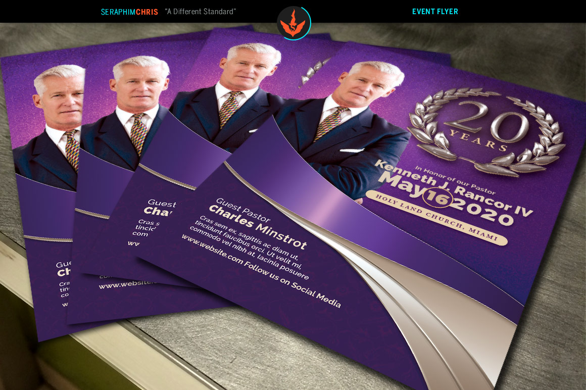 Lavender Pastor's Anniversary Church Flyer Template example image 3