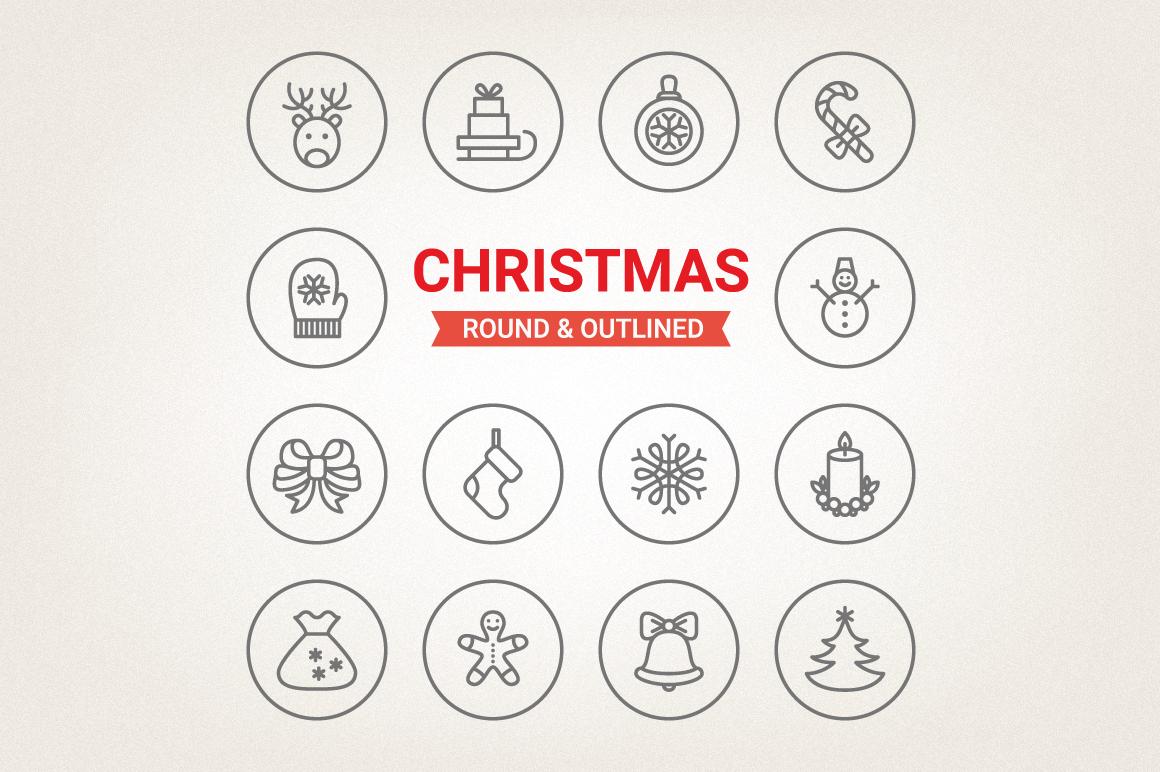 Circle Christmas Icons example image 1