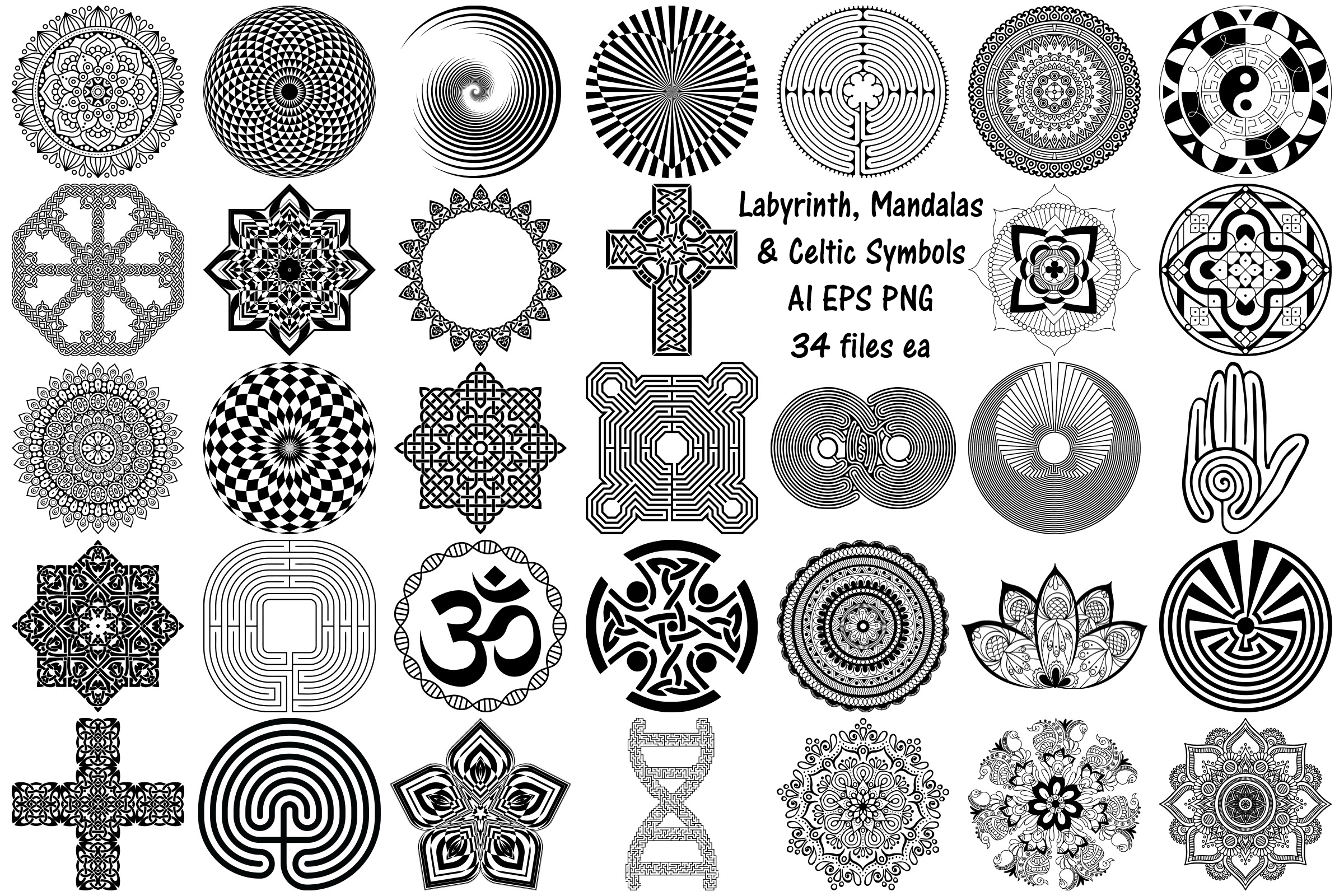 Labyrinth, Mandalas & Celtic Vectors AI EPS PNG example image 1