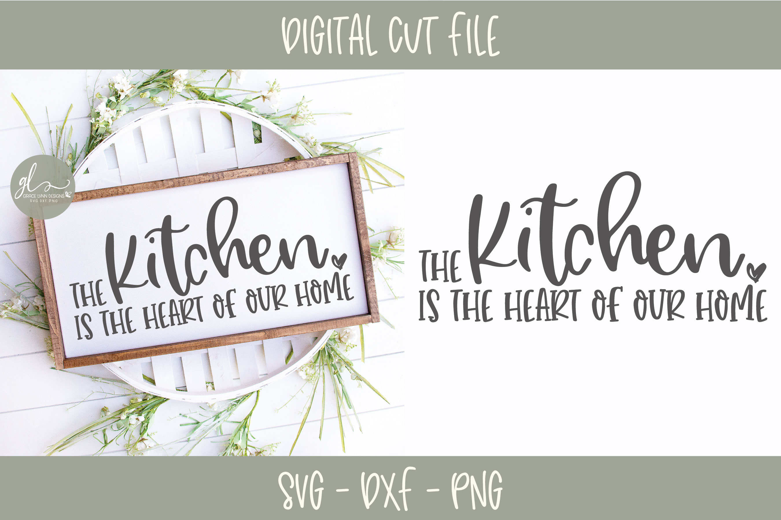 The Kitchen Is The Heart Of Our Home - SVG Cut File example image 1