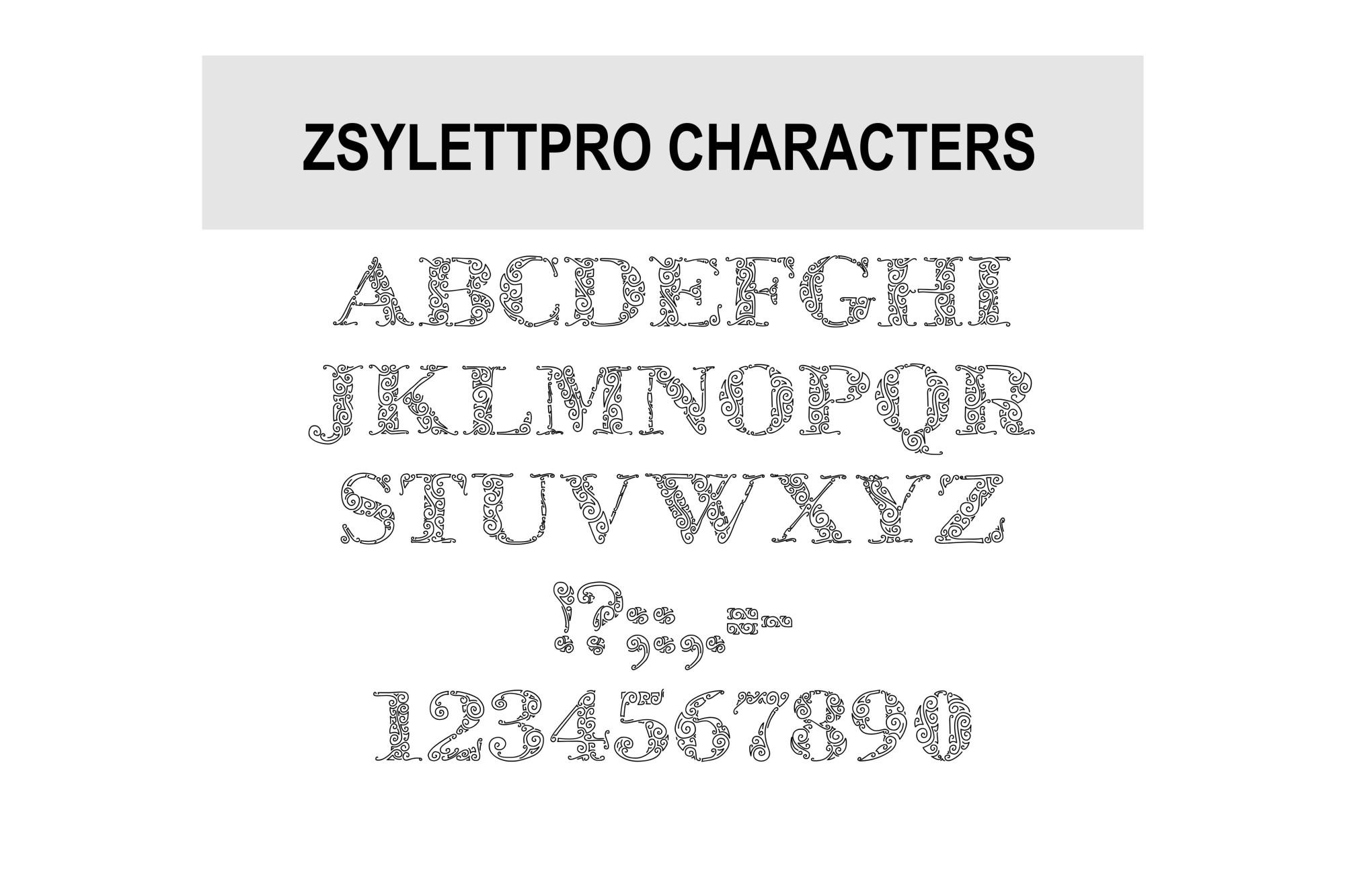 ZsylettPro decorative font example image 2