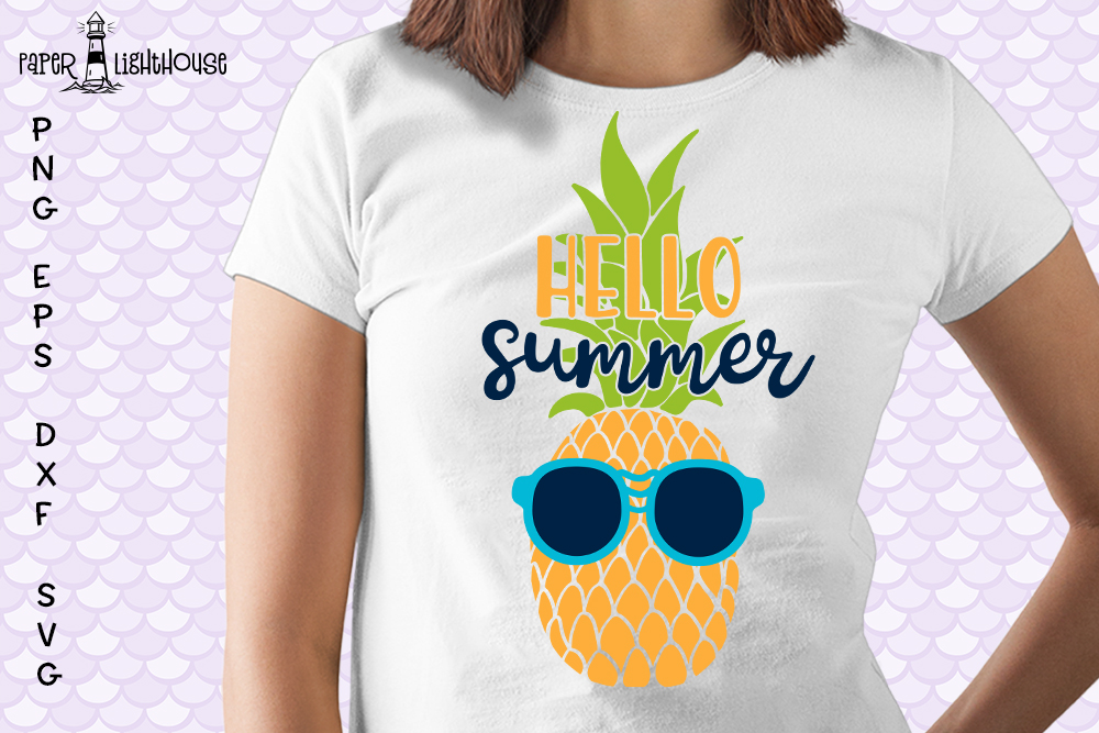 Hello Summer Pineapple svg - Beach Summer shirt design example image 2