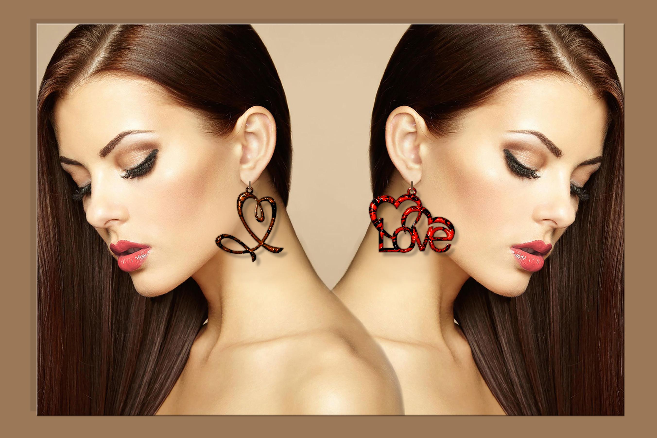 50 Leather earring bundle svg Valentine Love svg Heart example image 9