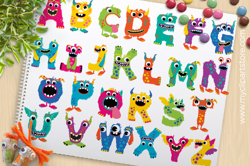 monster alphabet clipart abc letters design bundles