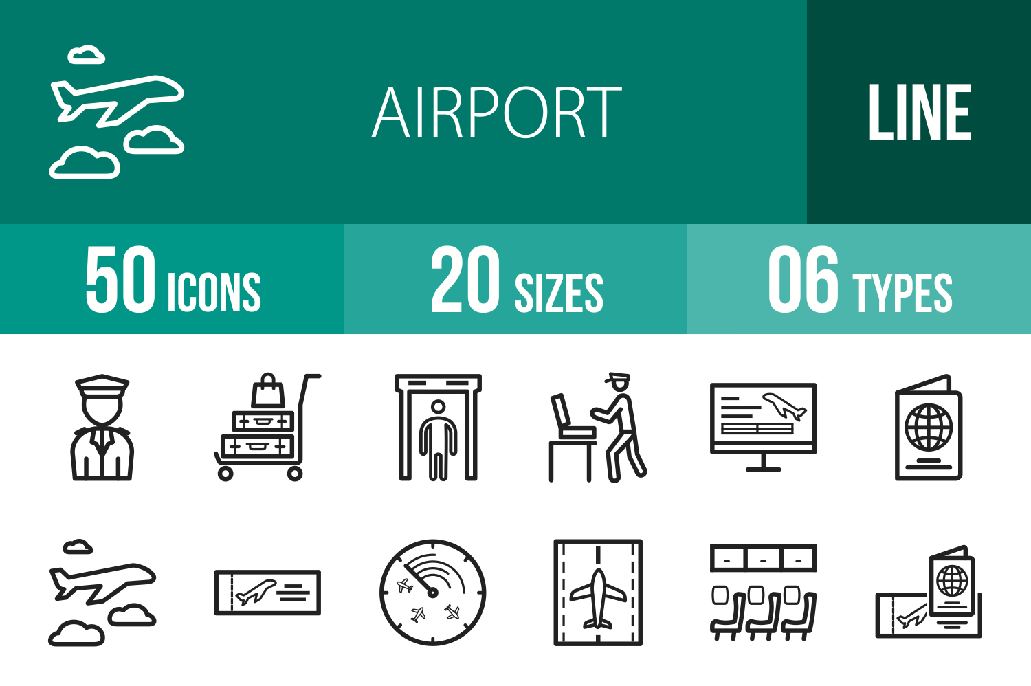 50 Airport Line Icons example image 1