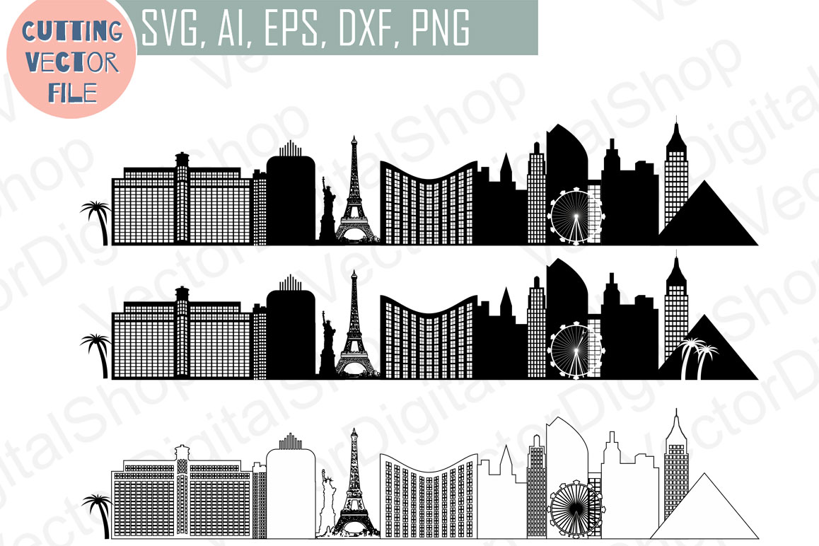 Las Vegas Vector, Nevada Skyline USA city, SVG, JPG, PNG, DWG, CDR, EPS, AI example image 1