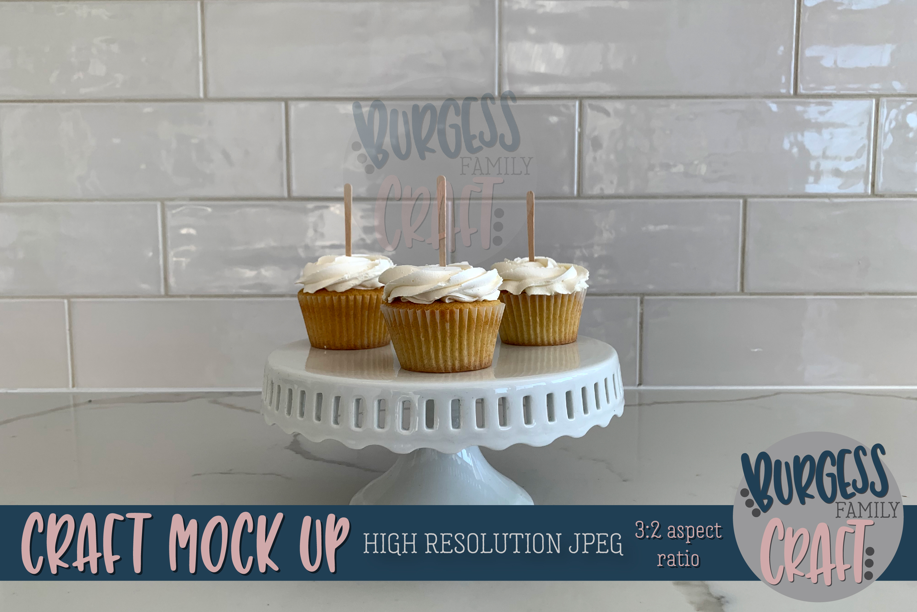 Cupcake topperwhite on white Craft mock up | High Res JPEG example image 1