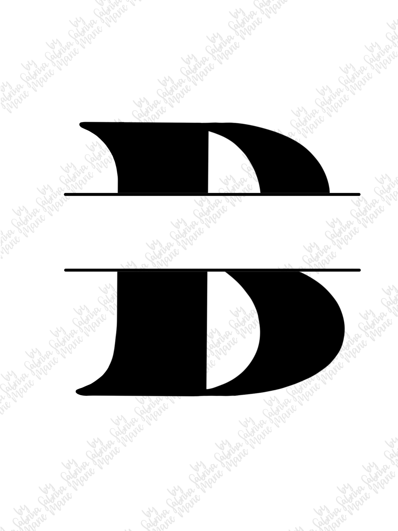 Split Monogram B - Handdrawn - SVG/PNG example image 2