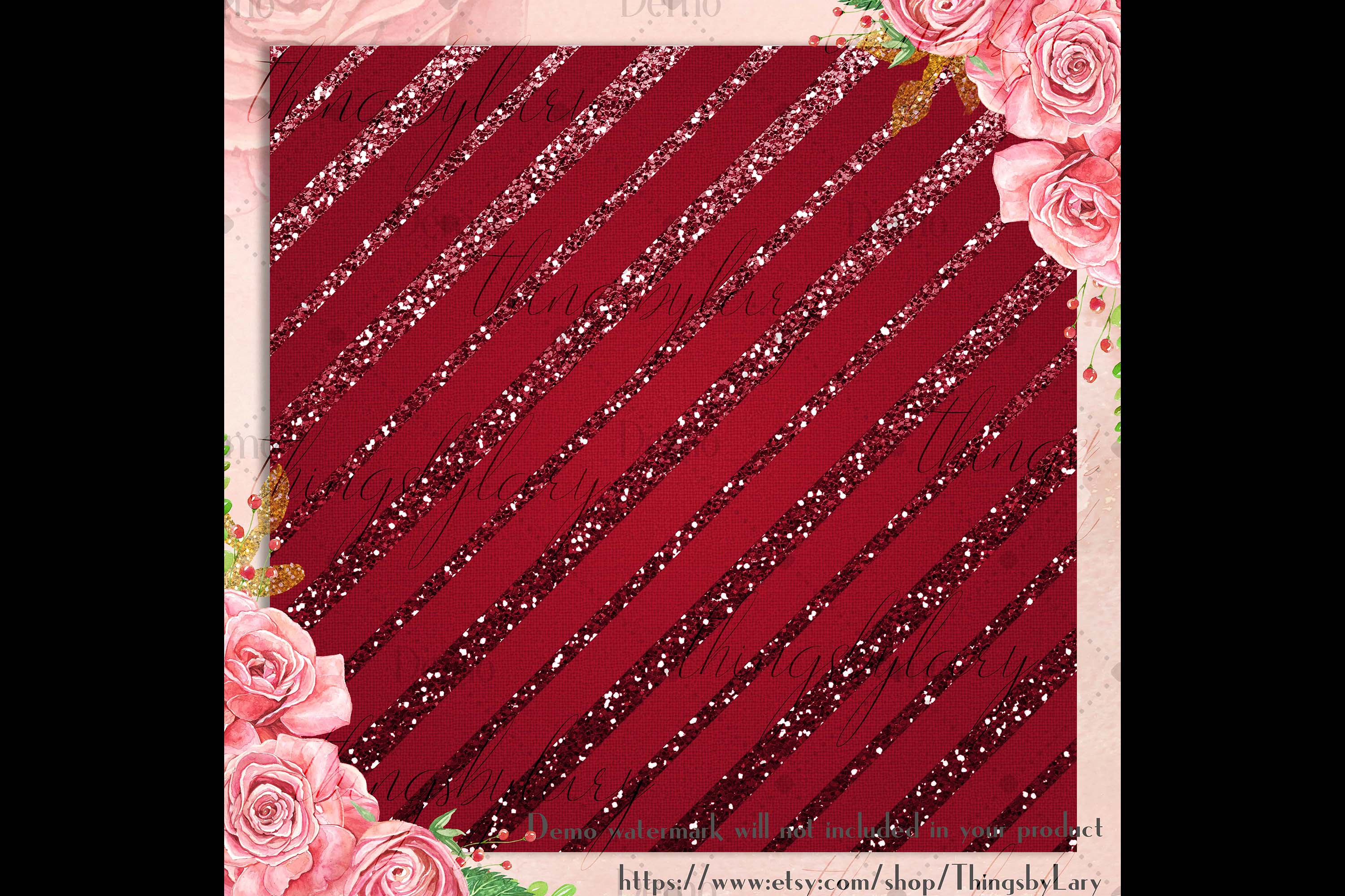 16 Red and Green Glitter Christmas Printable Digital Papers example image 2