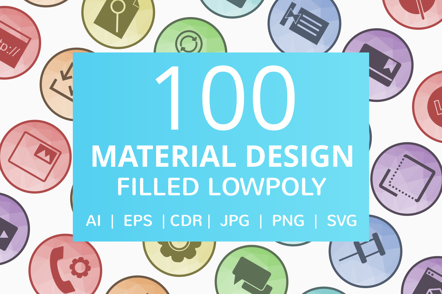 100 Material Design Filled Low Poly Icons example image 1