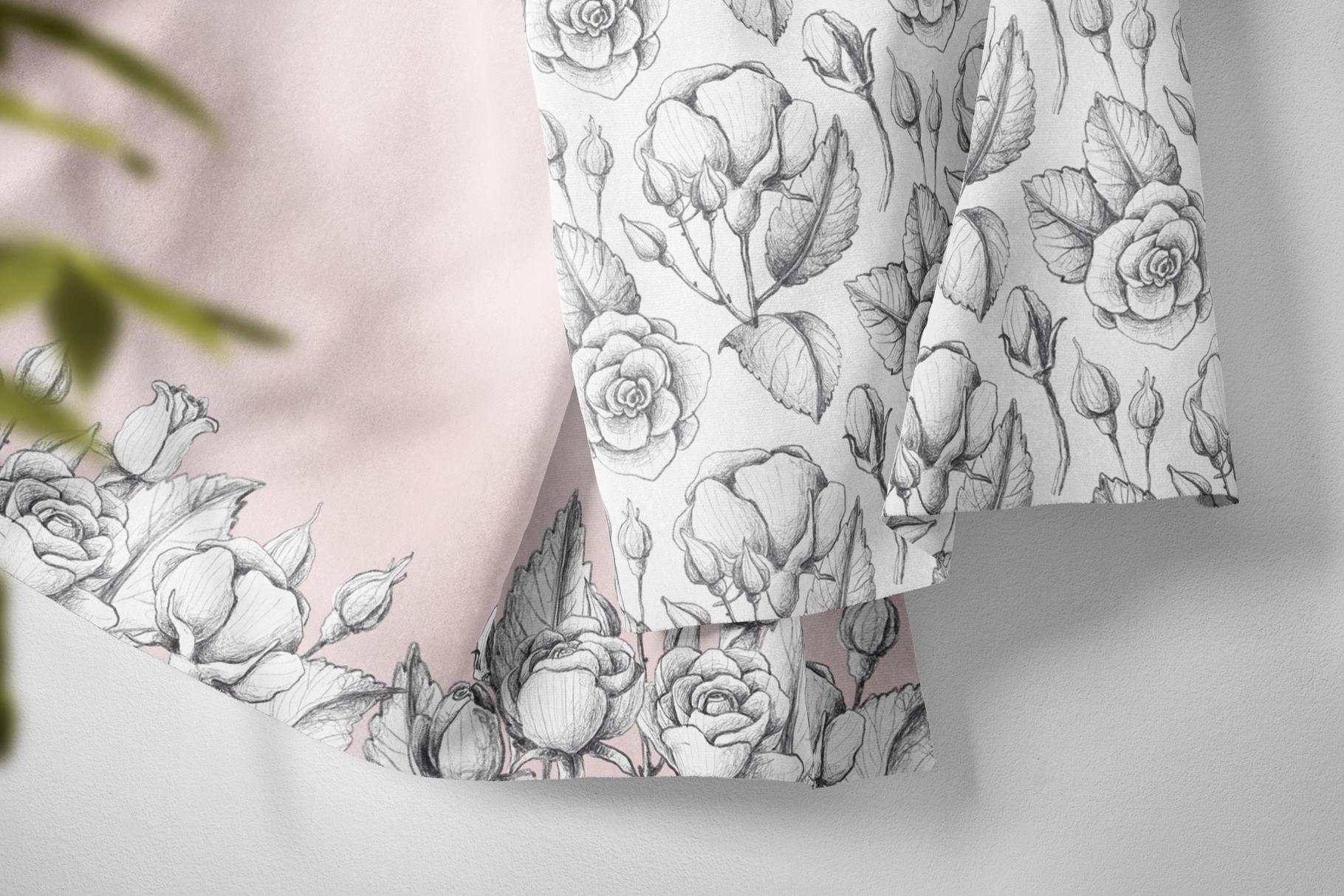 Sketched roses, patterns, frames example image 4