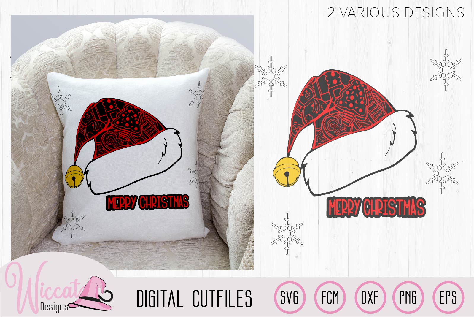 Doodle Christmas hat svg, Happy and Merry Christmas example image 1