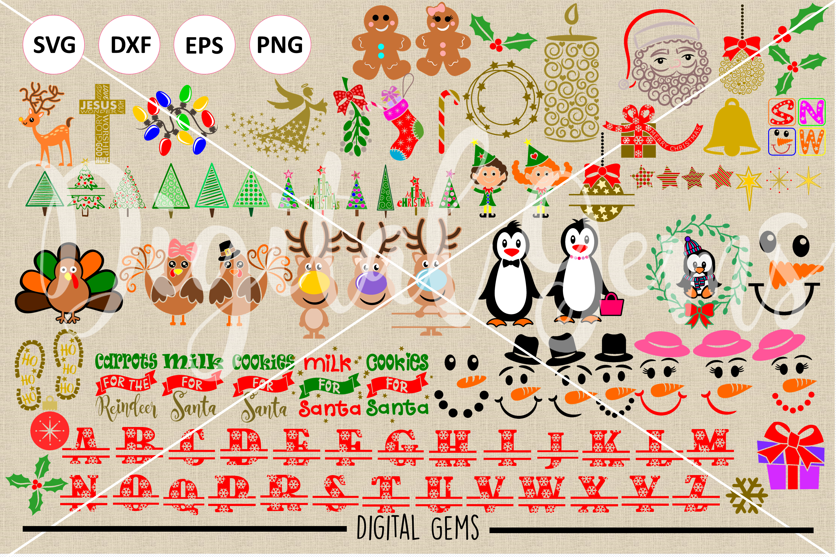 Christmas Bundle SVG / DXF / EPS / PNG files example image 2