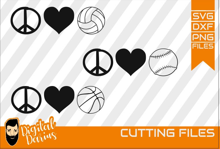 3x Peace love volleyball baseball basketball Svg, Hobby dxf, example image 1