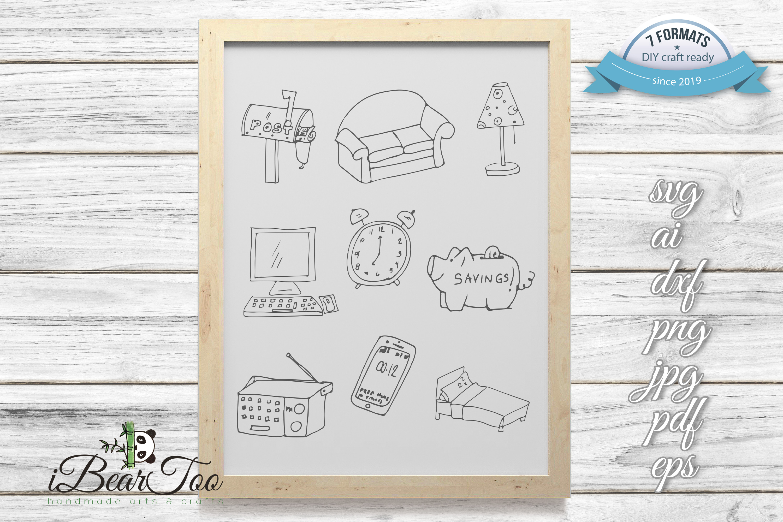 Furniture SVG Bundle Clipart Home Doodle Vector Cut Files example image 1