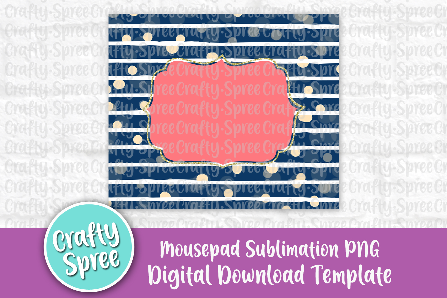 Navy Stripe Mousepad Sublimation Template PNG Peach Coral example image 2