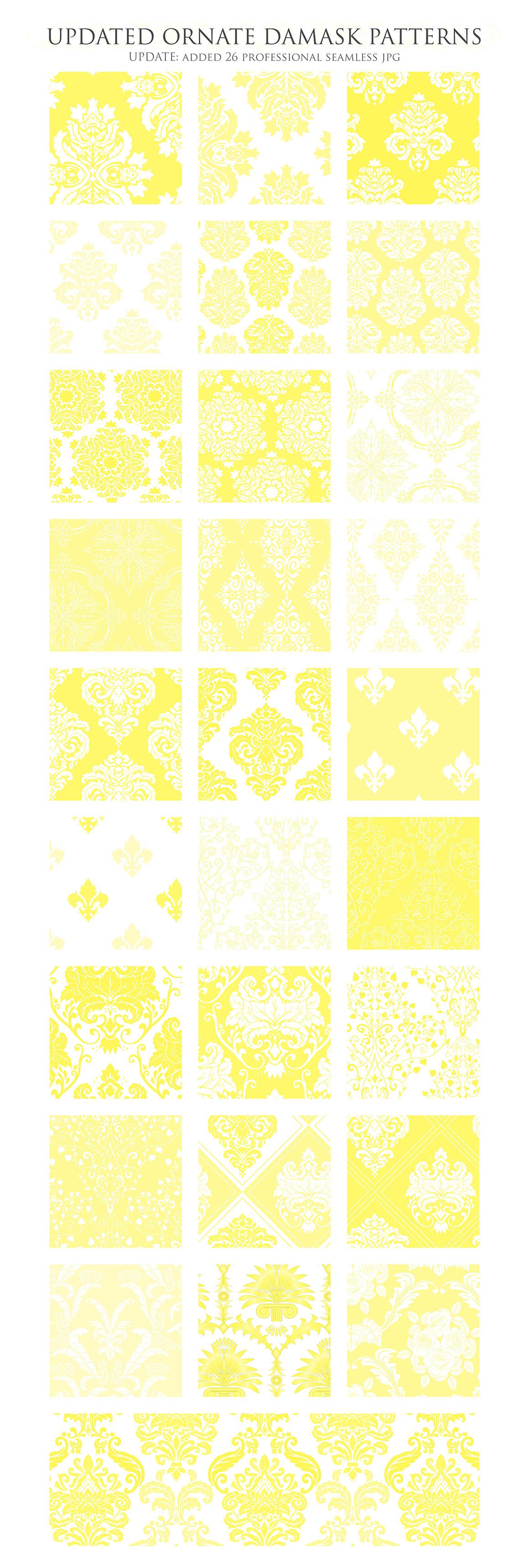 28 Yellow Damask Patterns - Seamless Digital Papers Bundle example image 3