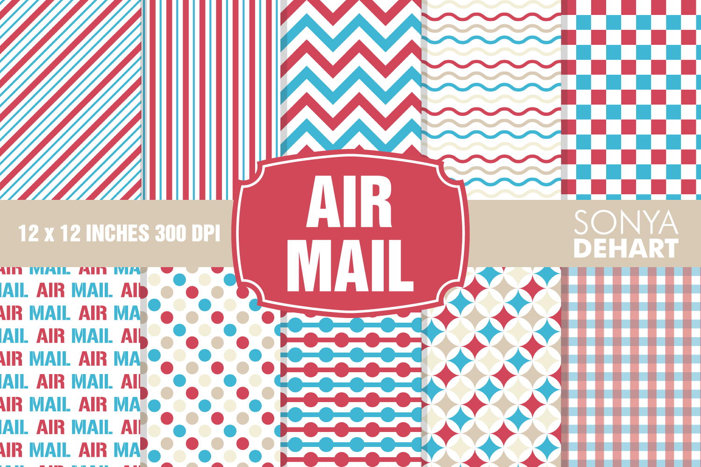 Air Mail Postal Digital Paper Pattern Pack example image 1
