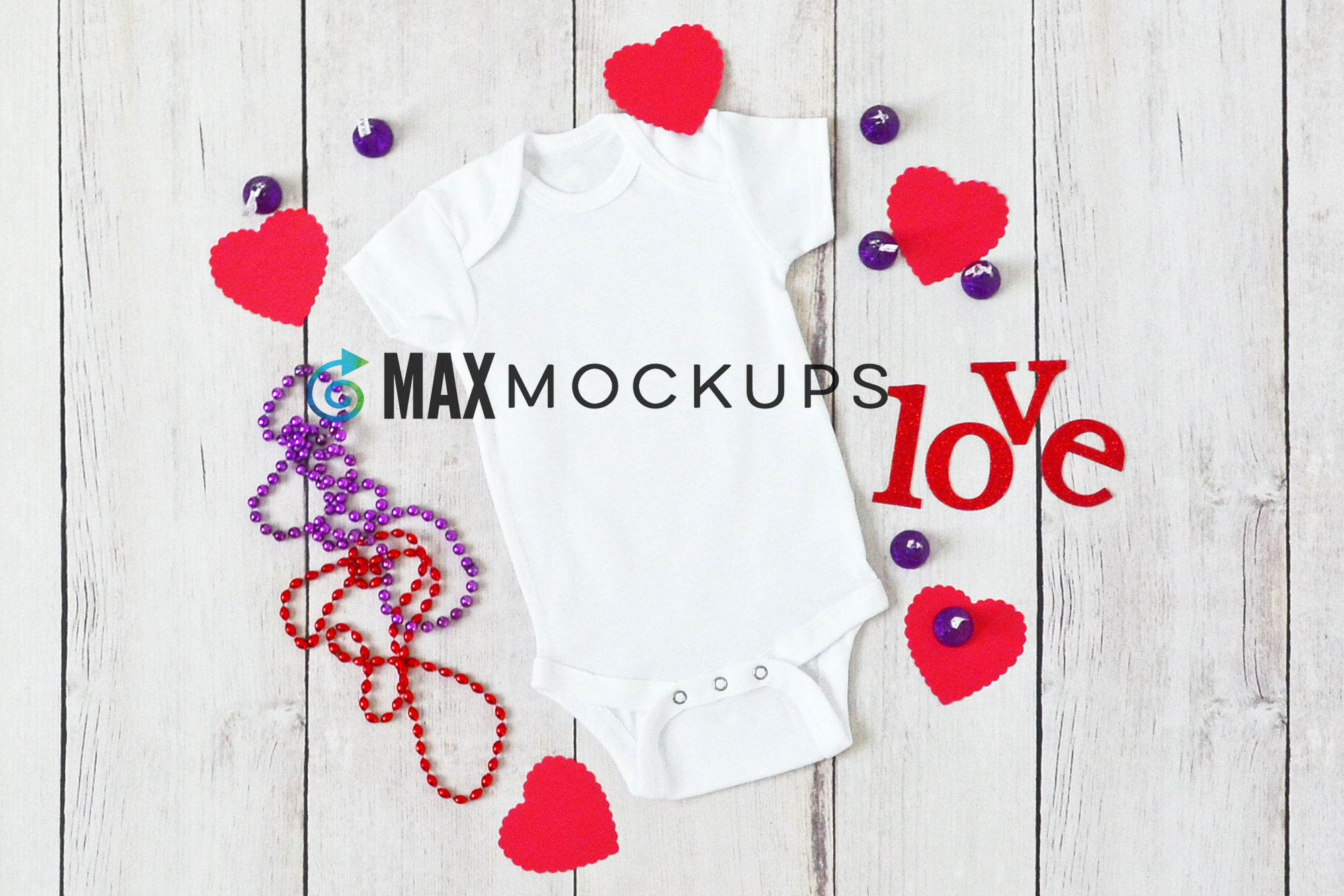 Baby bodysuit Mockup, Valentines love hearts, styled flatlay example image 1