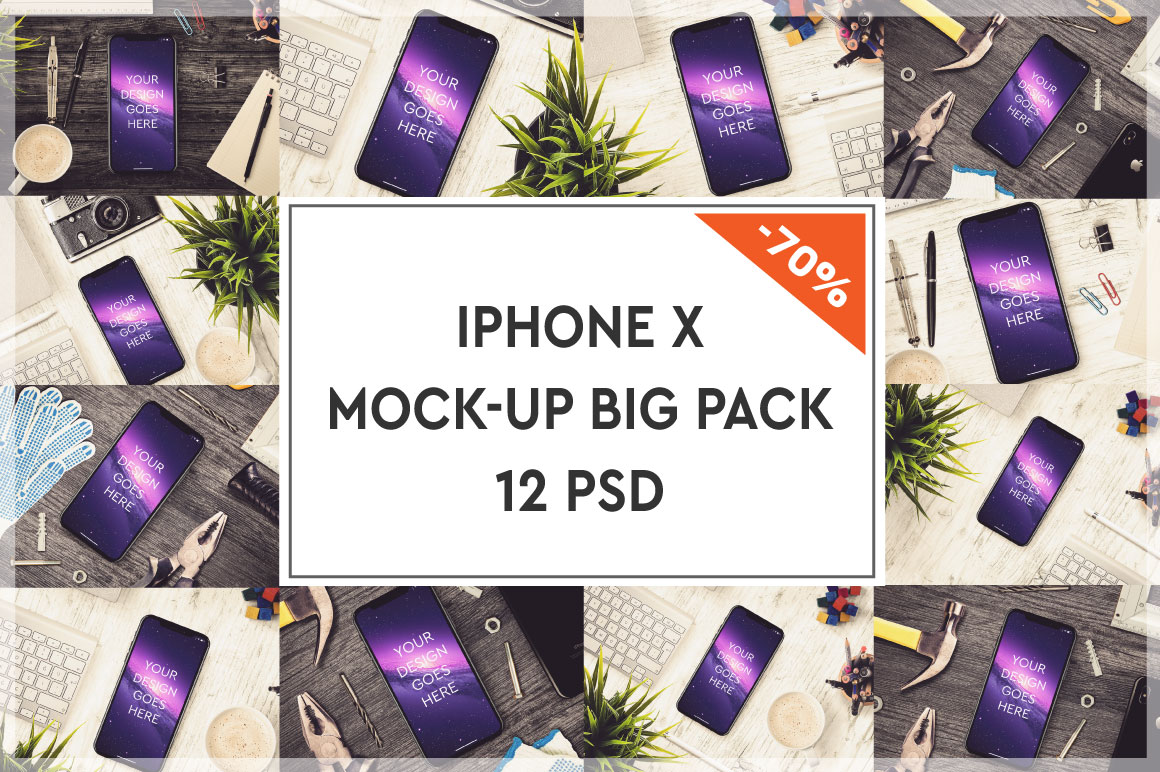 Apple iPhone X Mock-up Big Pack #2 example image 1