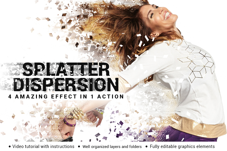 Splatter Dispersion Photoshop Action example image 1