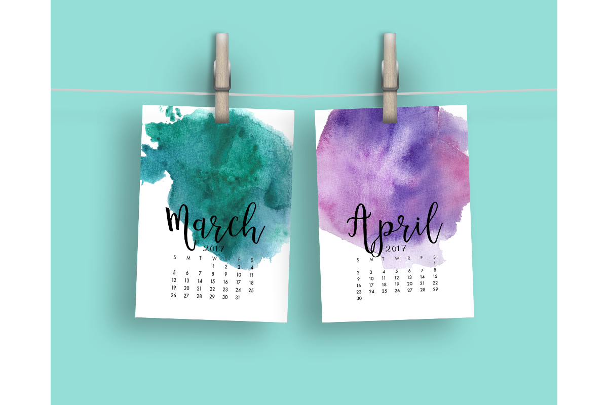 2017 Hand Paint Watercolor Calendar  example image 3