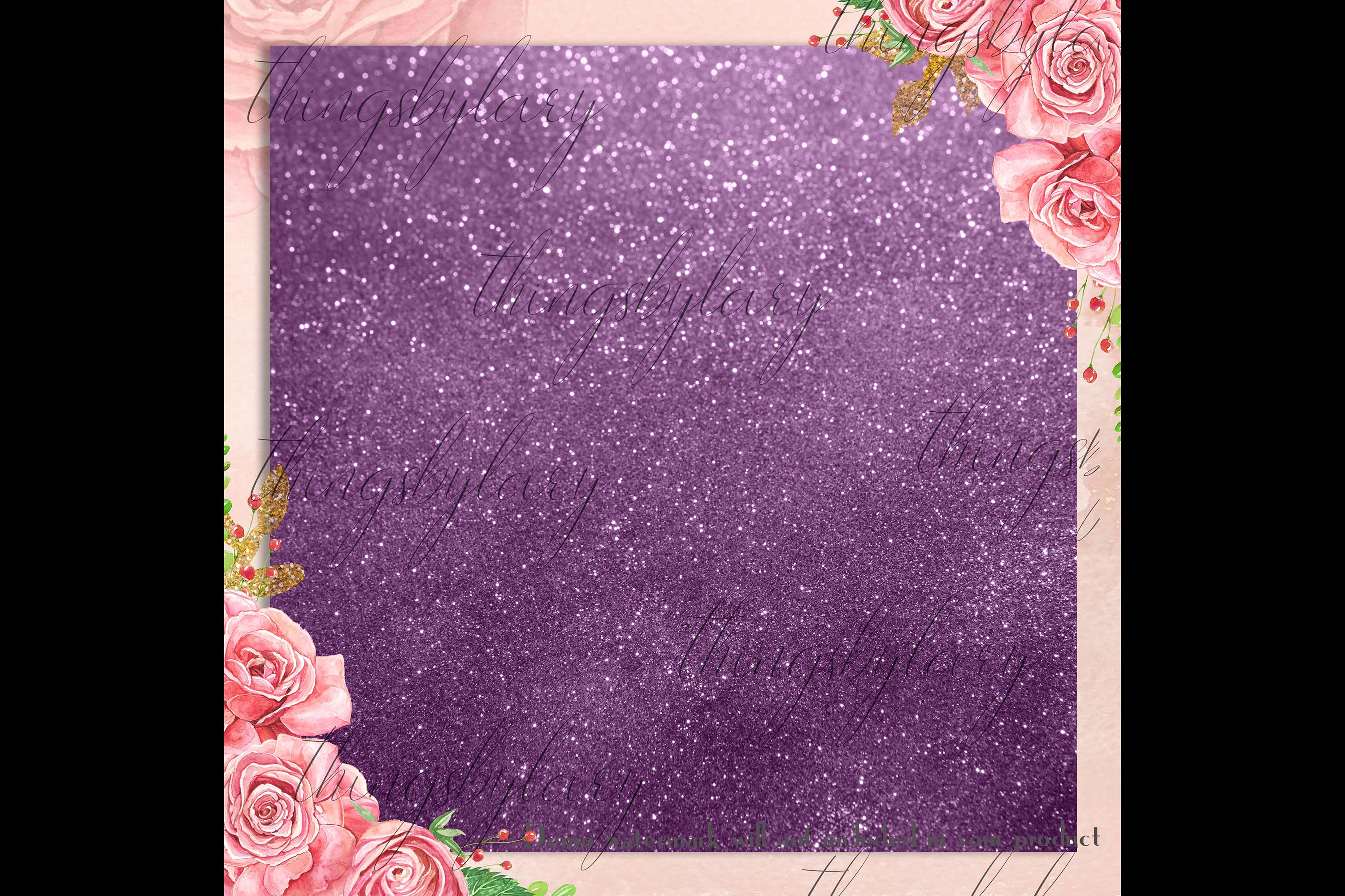 42 Amethyst Plum Purple Lilac Glitter Sequin Digital Papers example image 4