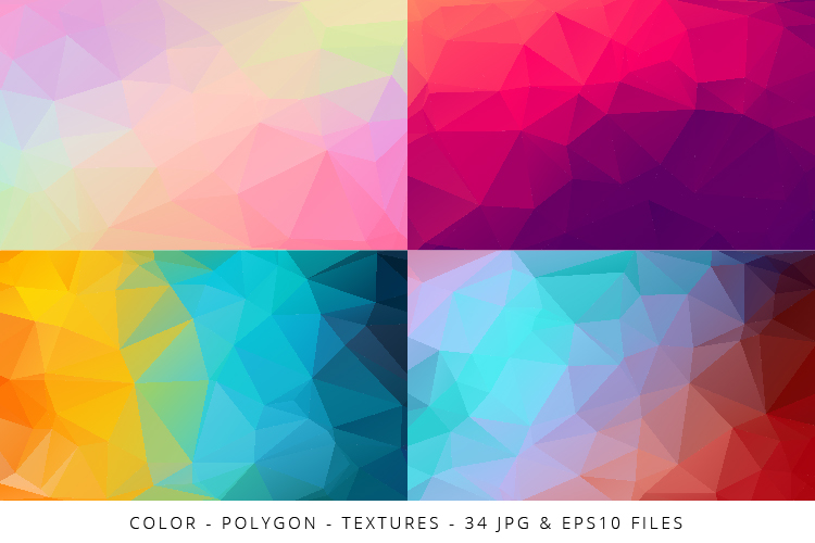 Colorful Low Poly Geometric Digital Papers Eps10 and JPG example image 4