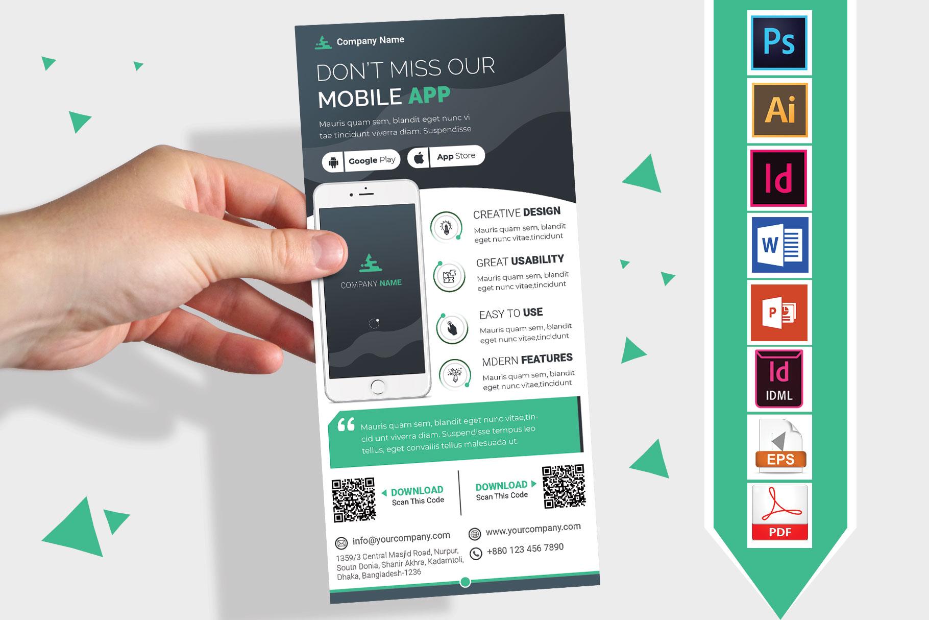 Mobile App Promotion DL Flyer Vol-02 example image 1