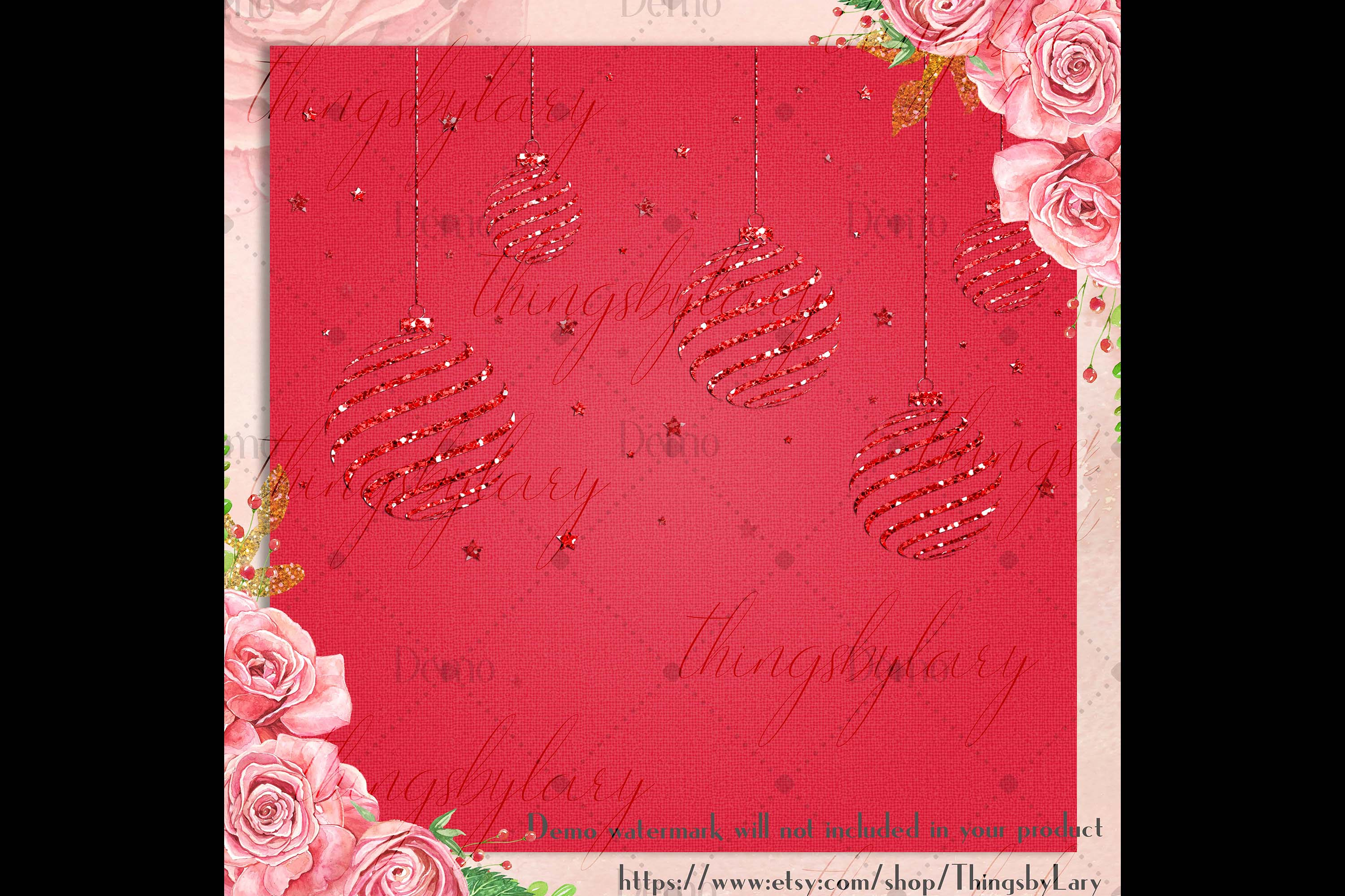 16 Red Glitter Christmas Printable Digital Papers 12 x 12 in example image 5
