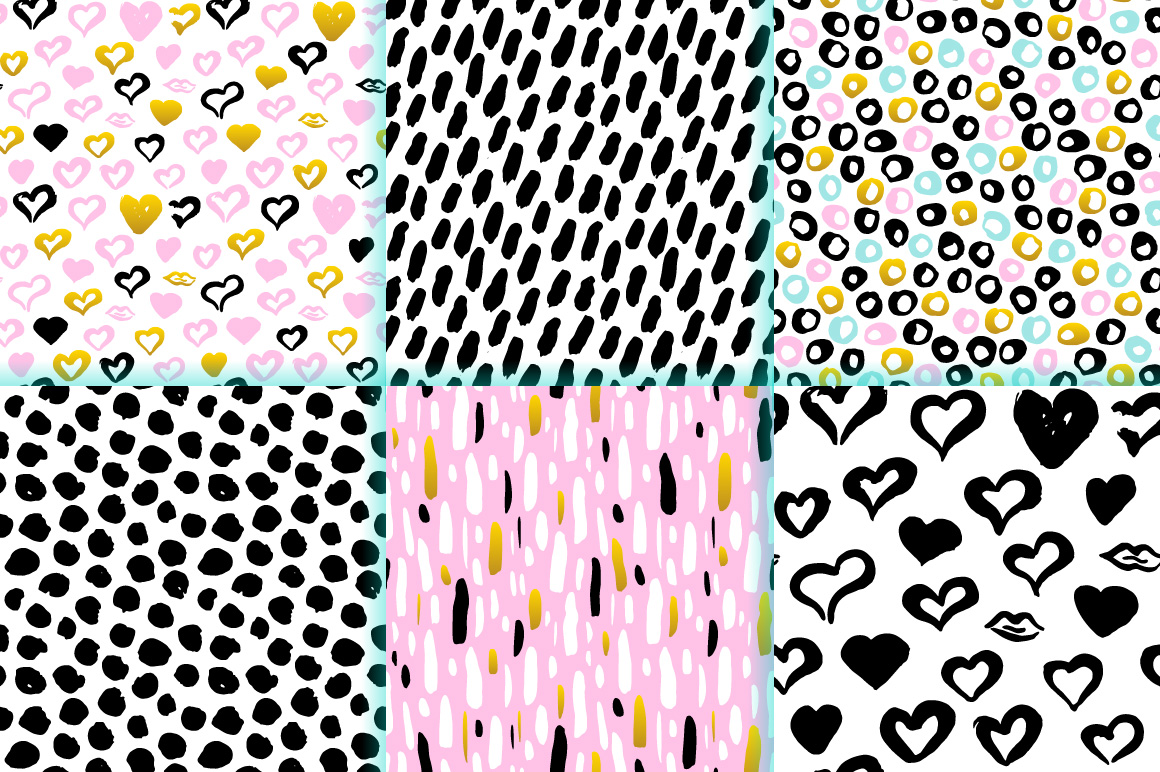 Brush Strokes Trendy Seamless Patterns example image 2