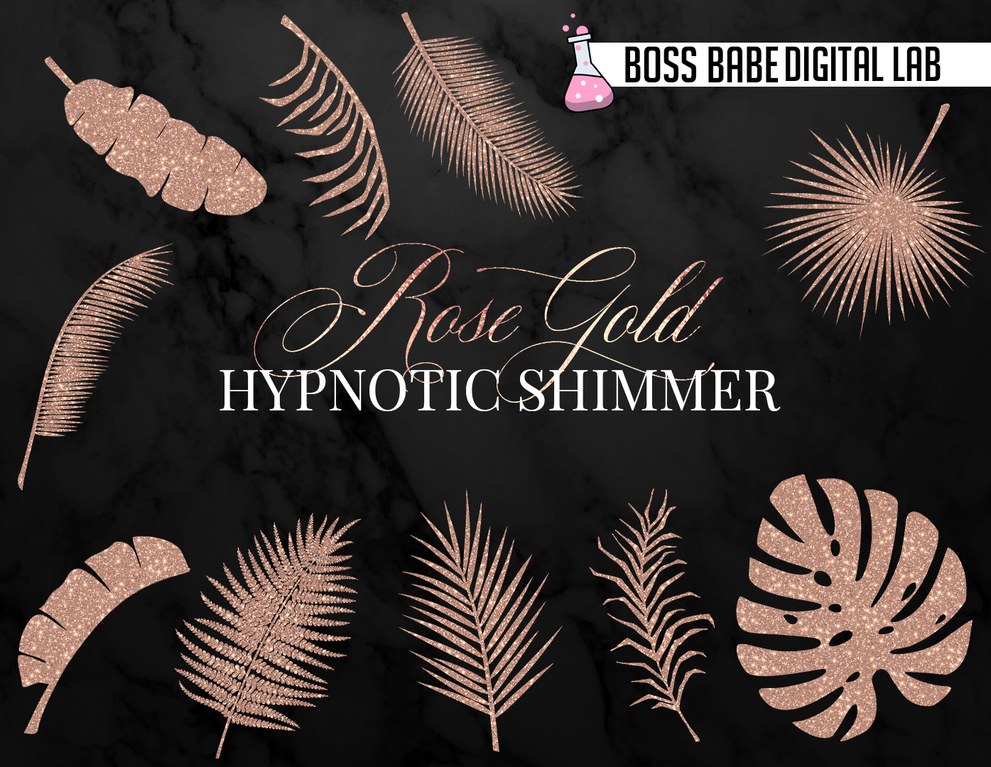 Rose Gold Tropical Leaves Clipart example image 2