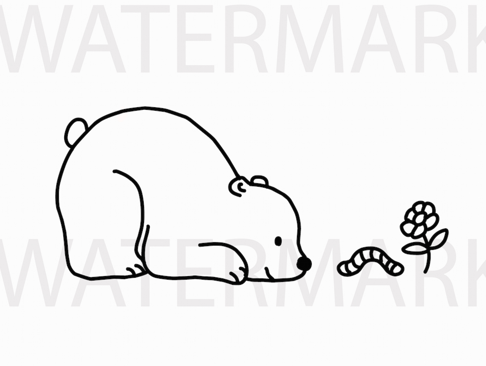 Bear Playing with a worm and flower - SVG/JPG/PNG Hand Drawing example image 1