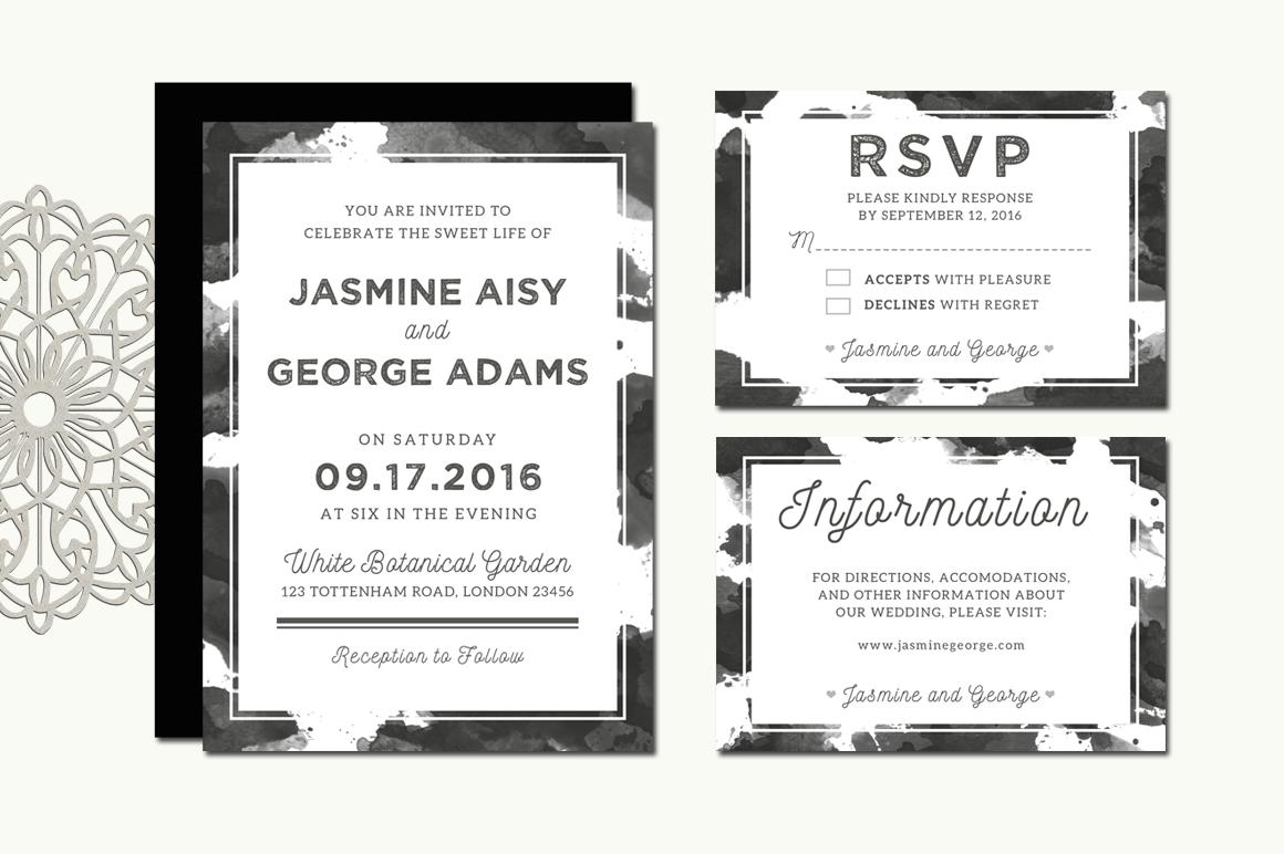 Monochrome Wedding Invitation Suite example image 3