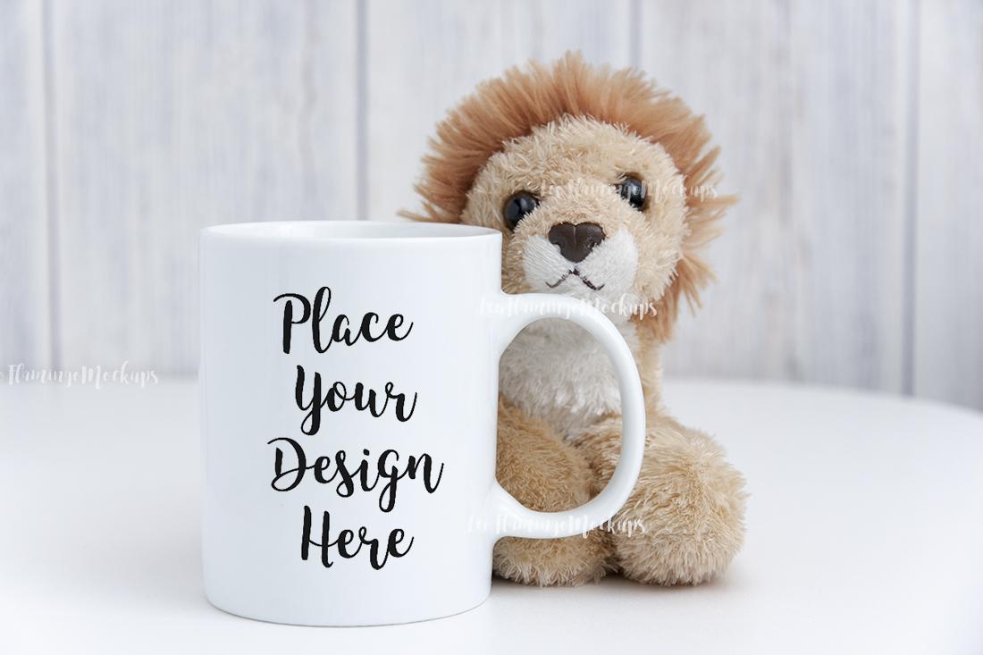 White digital coffee mug mock up kids toy background example image 1