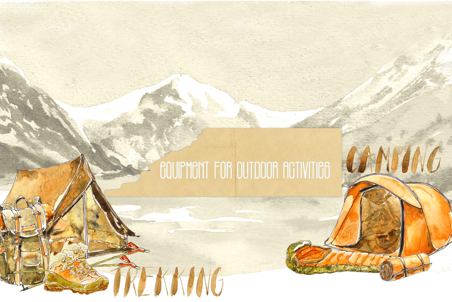 Outdoor Activities Watercolor Sketch example image 2