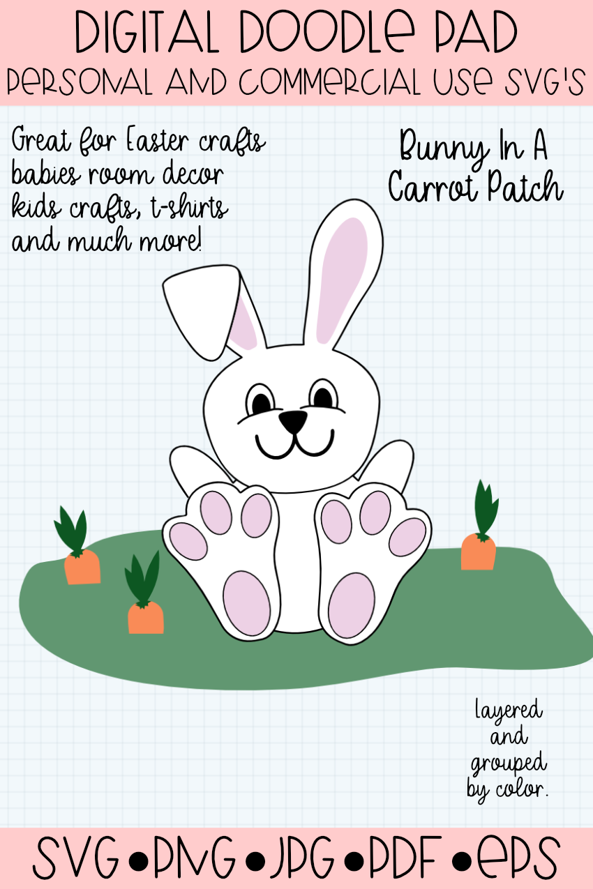 Easter Bunny Rabbit In a Carrot Patch SVG Cut File example image 2