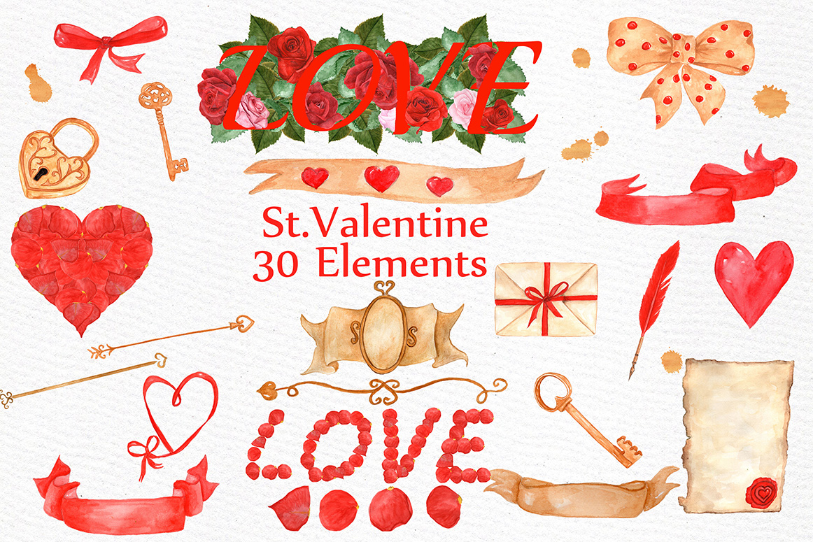 BUNDLE-Valentine's Day clipart example image 3