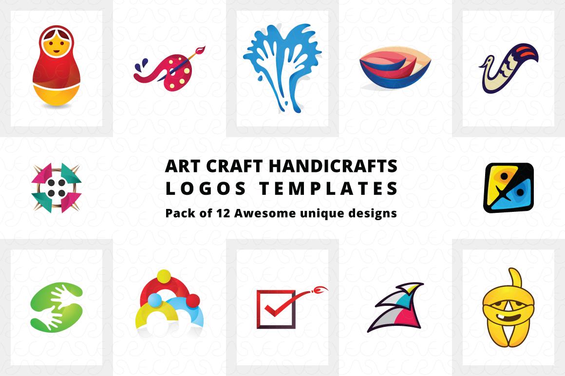 Art Craft Handicrafts Logo Templates Pack of 12 example image 1