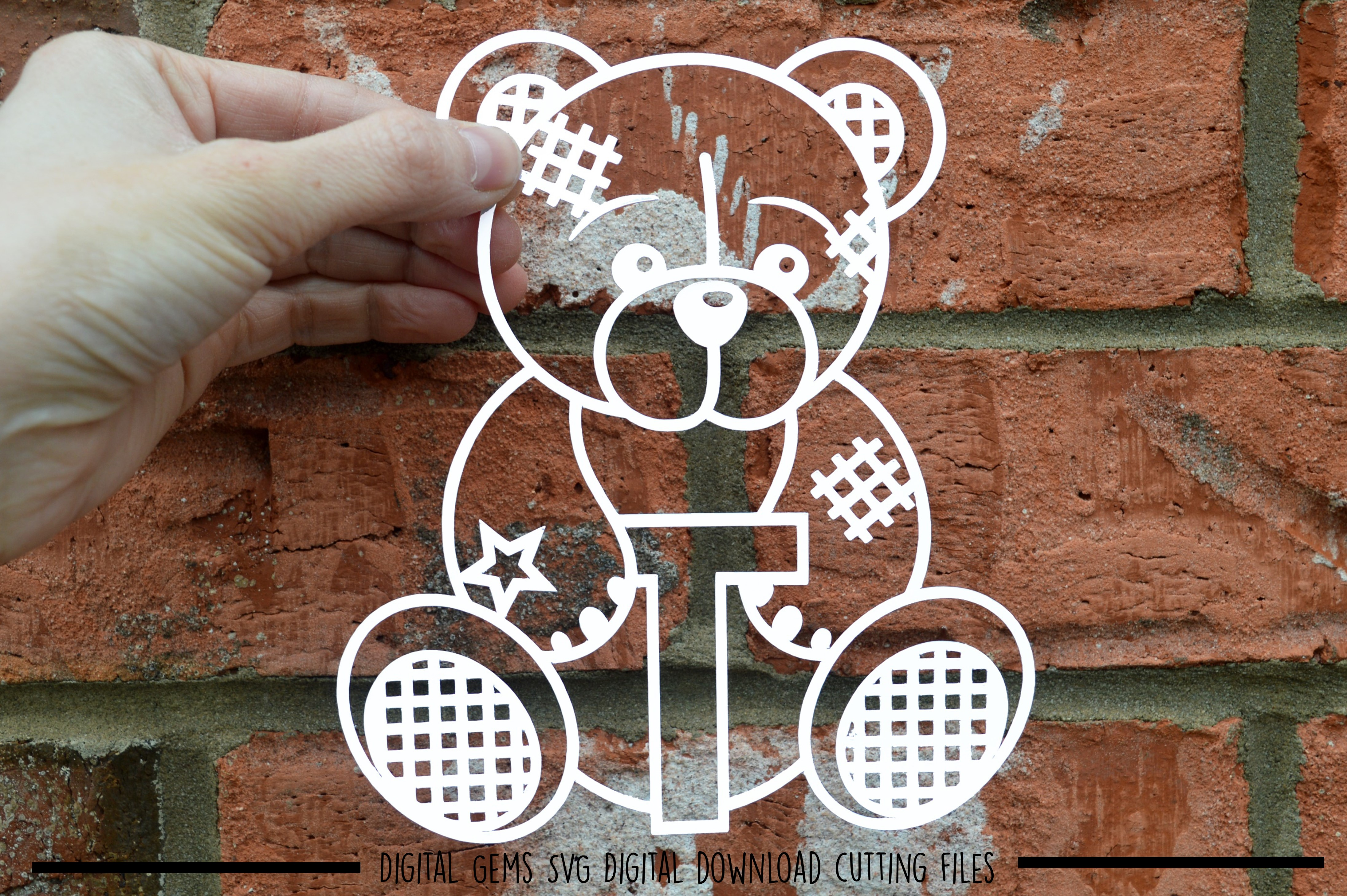 Alphabet teddy bear paper cuts SVG / DXF / EPS files example image 21