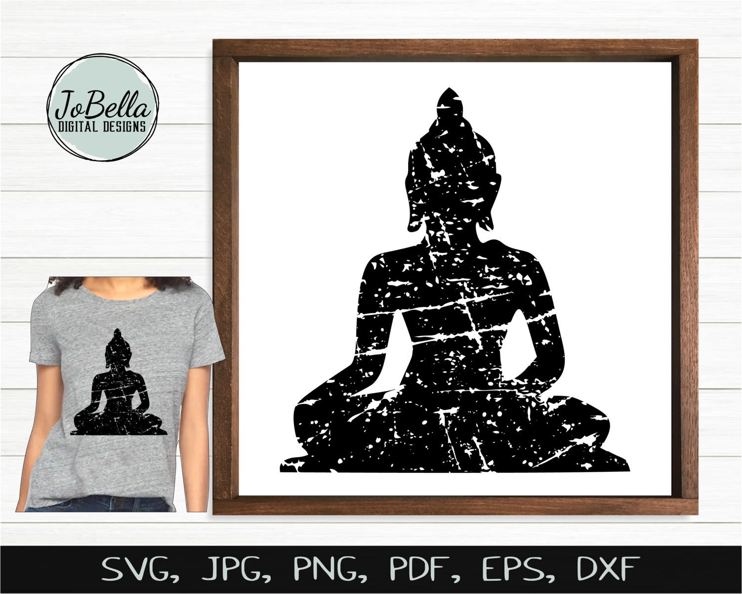 Distressed Buddha SVG, Sublimation Design and Printable example image 2