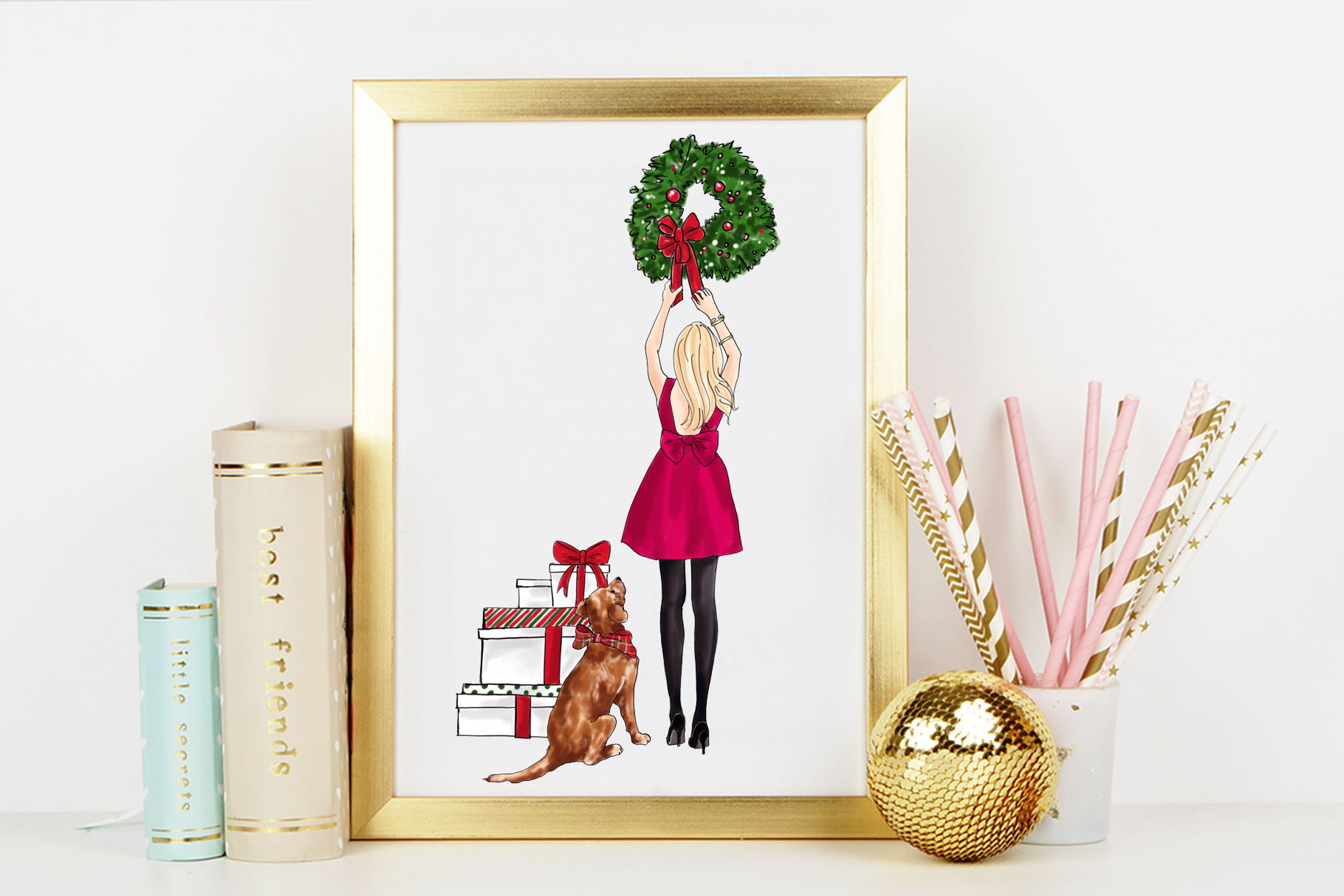 Fashion illustration - Christmas Girl 7 - Blonde example image 6