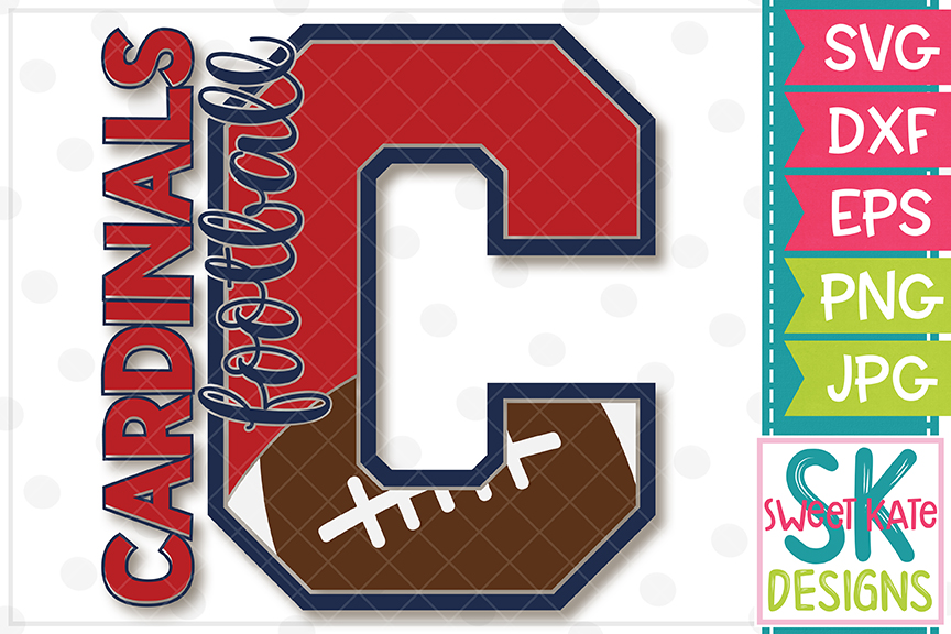 C Cardinals Football SVG DXF EPS PNG JPG example image 2