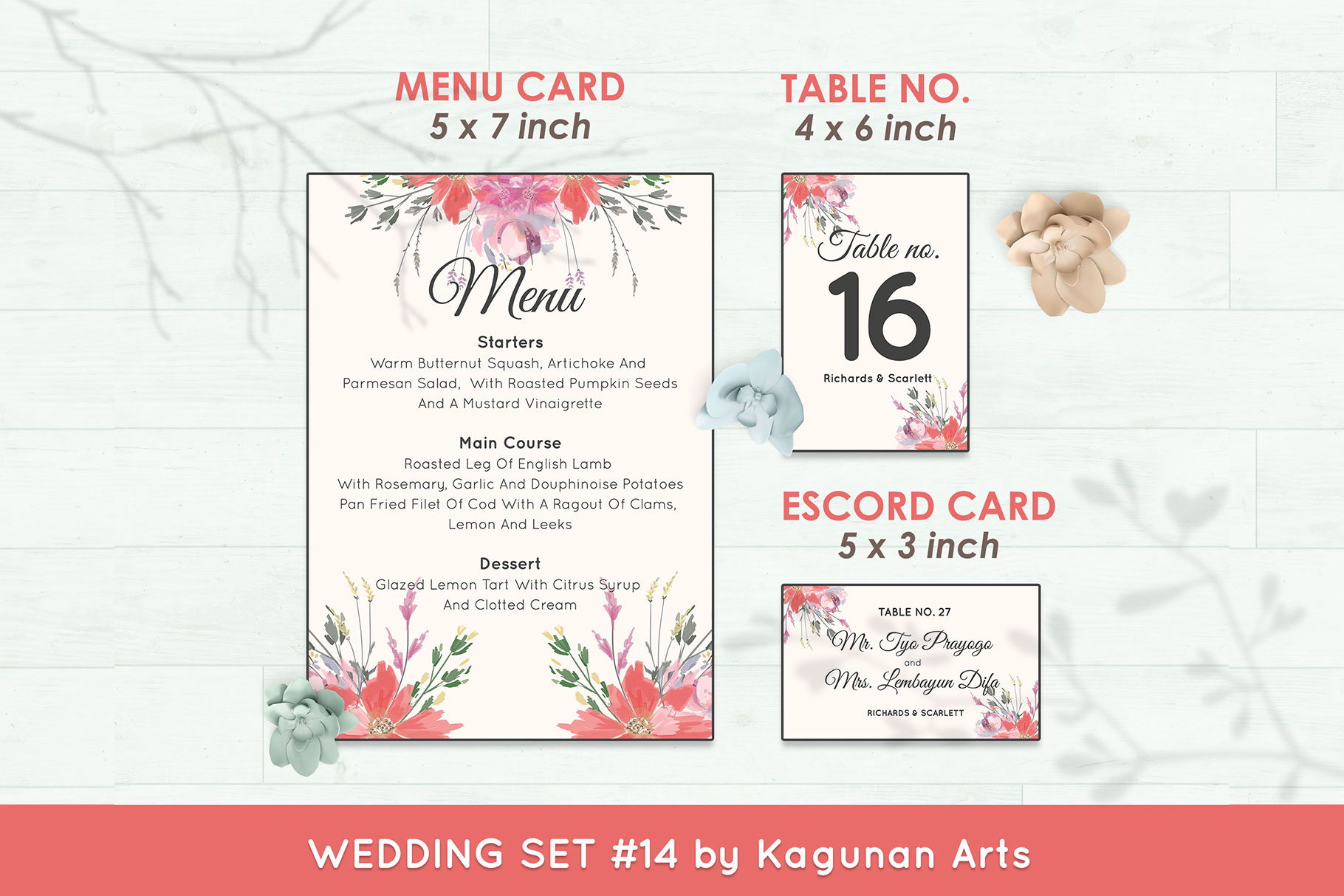 Wedding Invitation Set #14 Watercolor Floral Flower Style example image 6