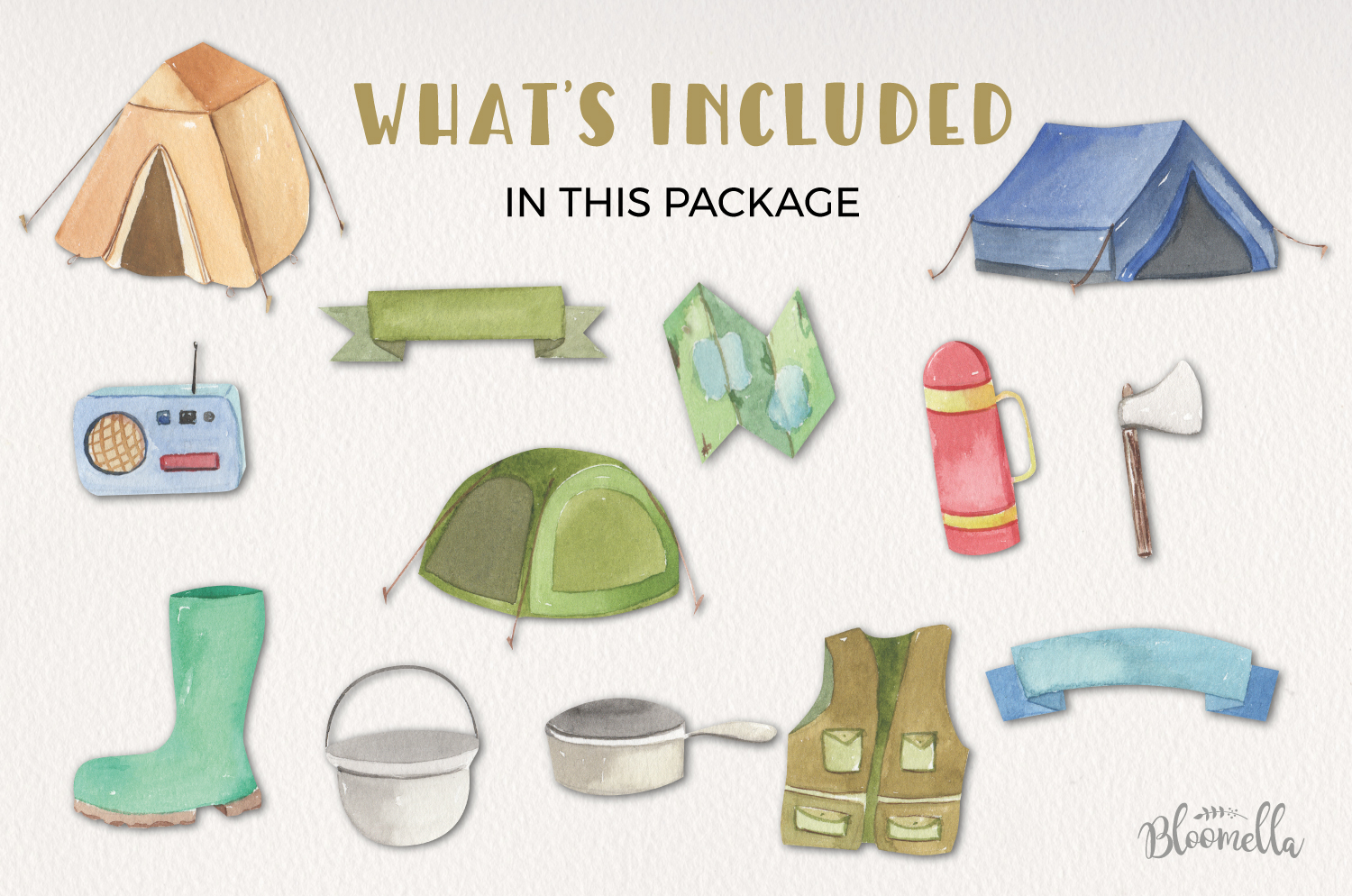 Camping Watercolor Elements example image 4