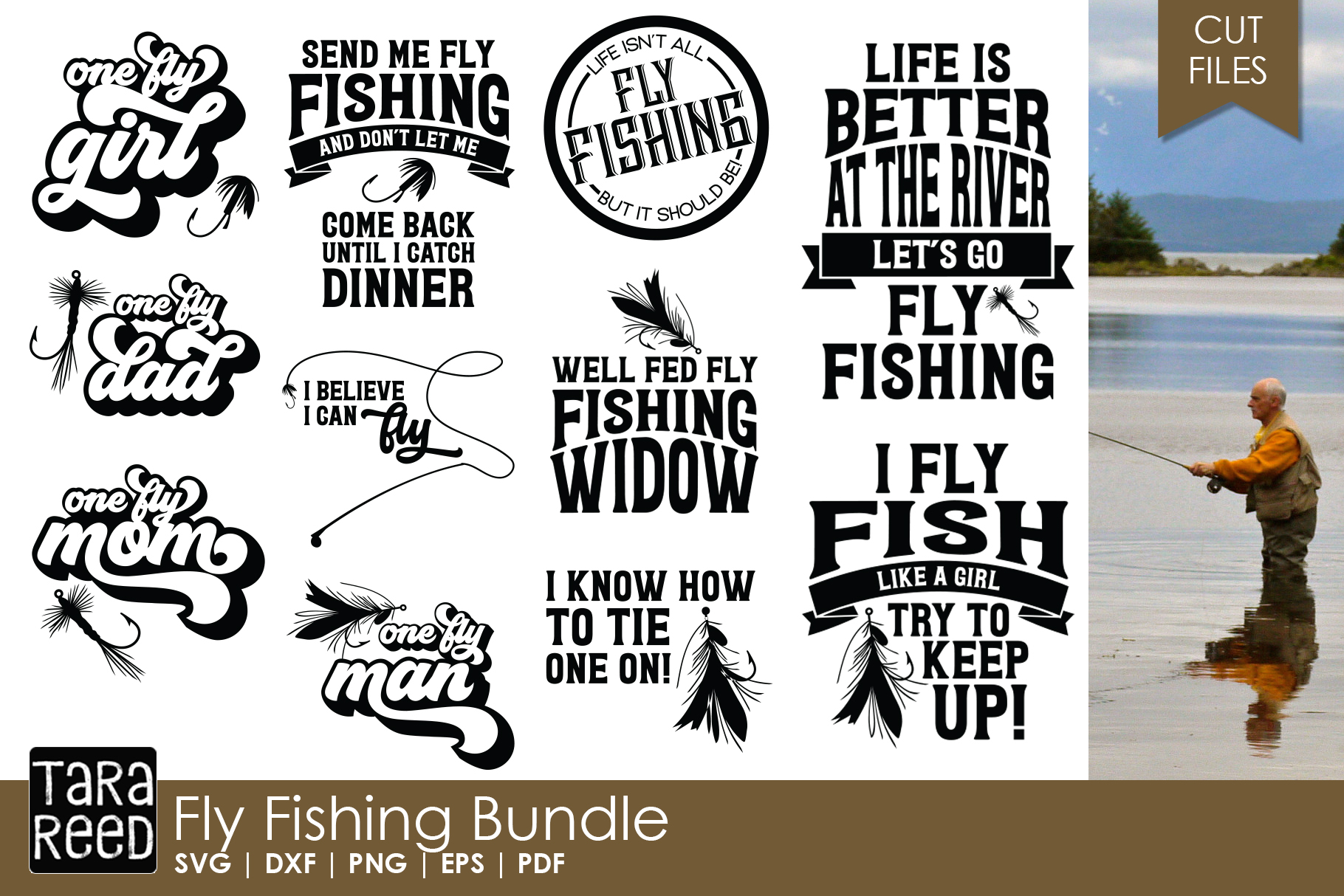 Fly Fishing - Fishing SVG and Cut Files for Crafters example image 1