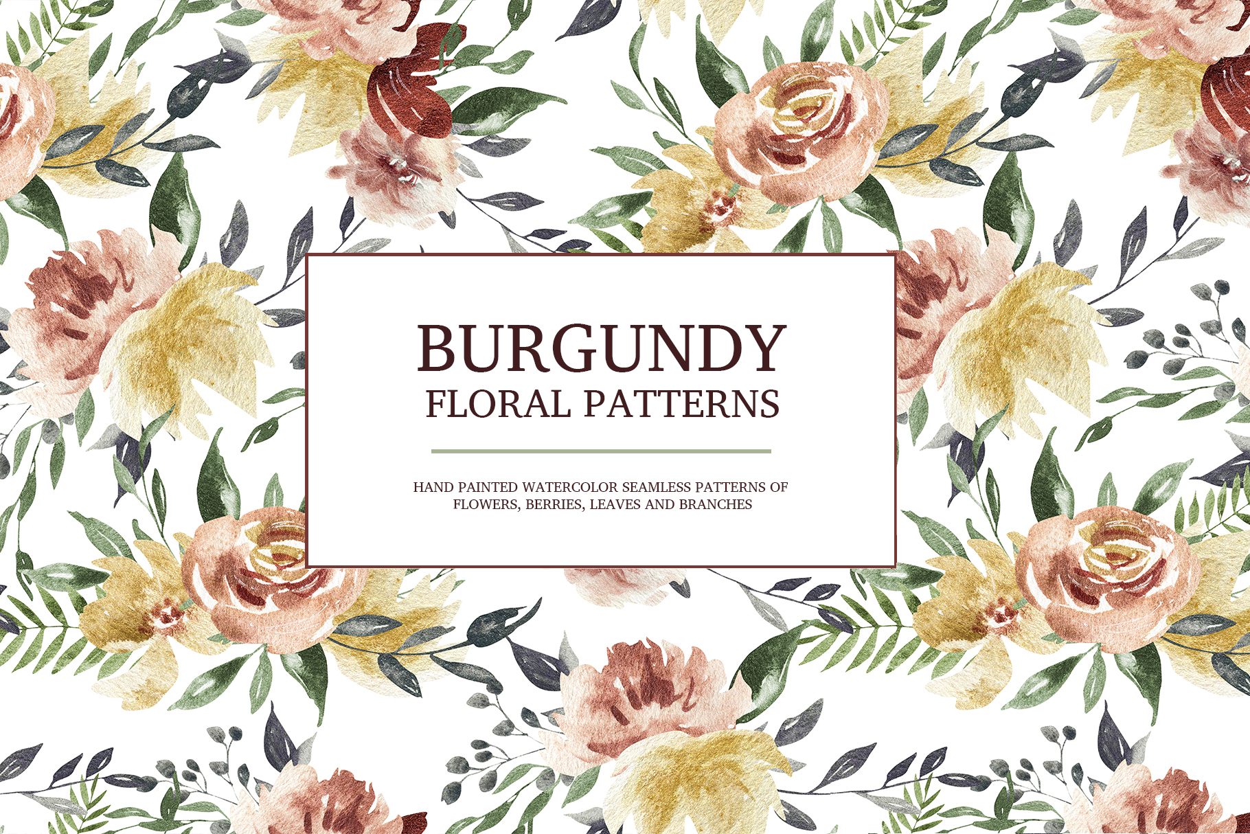 Burgundy floral seamless patterns, Seamless peony pattern example image 3