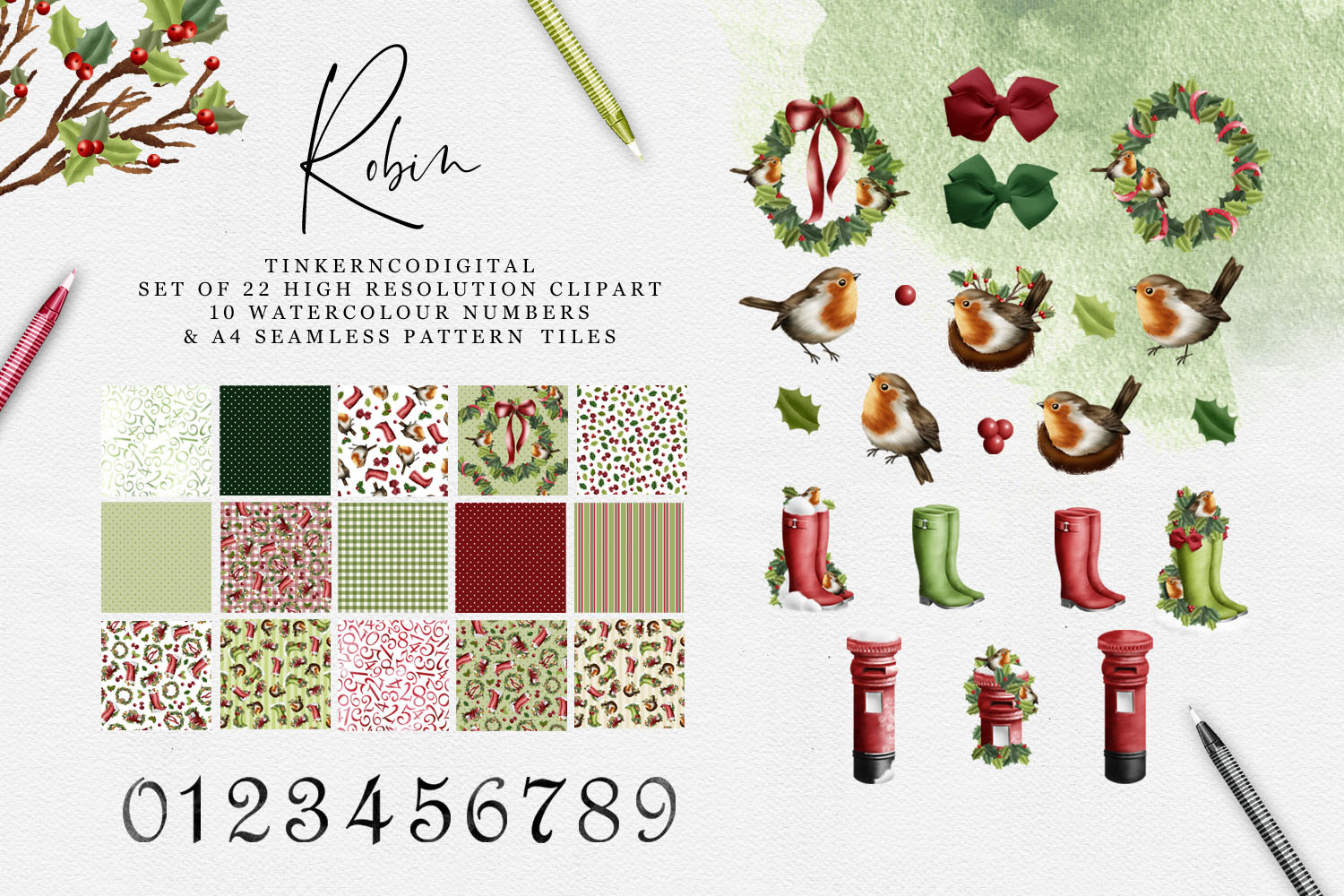 Christmas Robin Clipart and seamless patterned paper tiles example image 1
