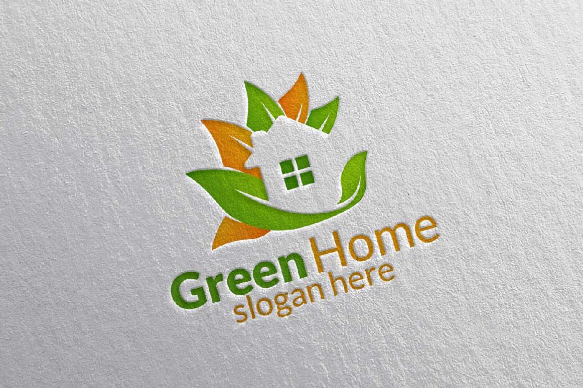 Real estate Logo, Green Home Logo 25 example image 1
